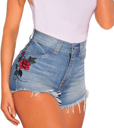 New Arrivals Fashion Women Embroidery Rose Floral High Waist Denim Short