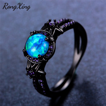 Blue Fire Opal Star Flower Rings