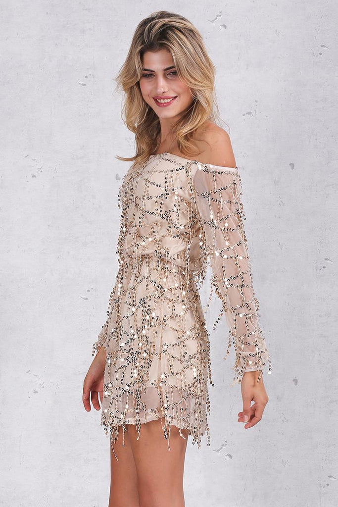 Sexy off shoulder sequin tassel  dress