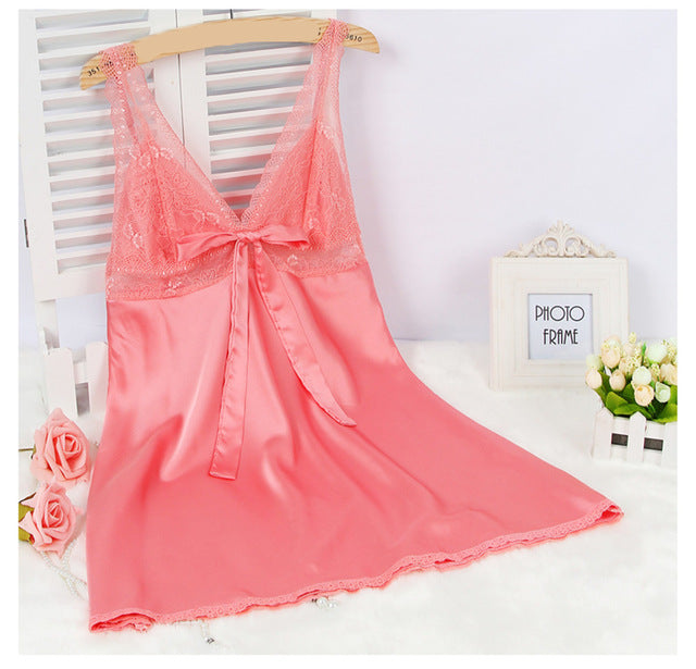 Women Lace Mesh Satin