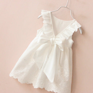 Cute Solid White Girl Summer Dress