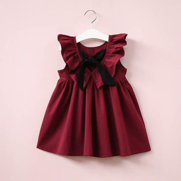 New Casual Style Fashion Fly Sleeve Girls Bow Dress
