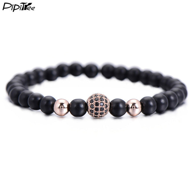Natural Stone Matte Beads Charm Bracelets