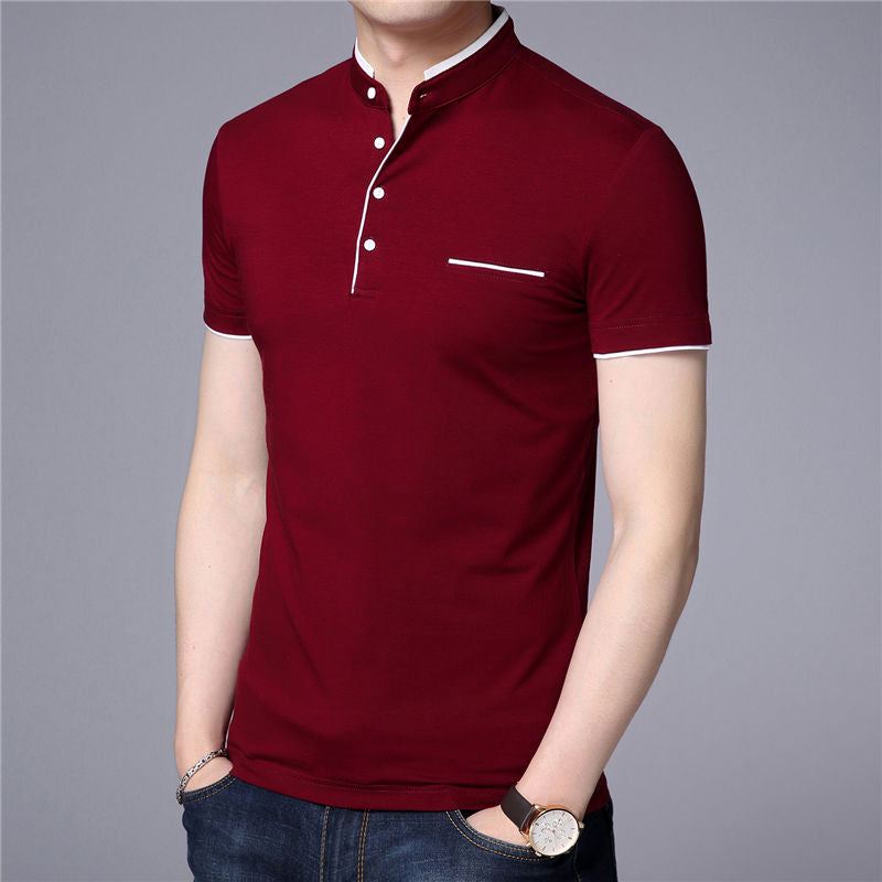 Mandarin Collar Short Sleeve T-Shirt