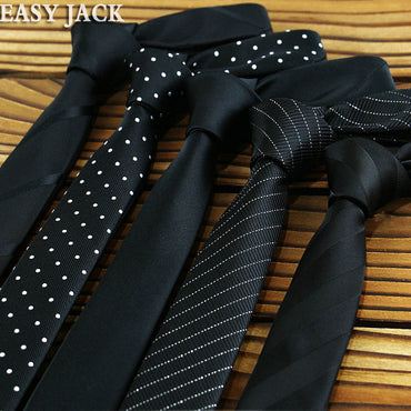 Black Polyester Silk Skinny Ties