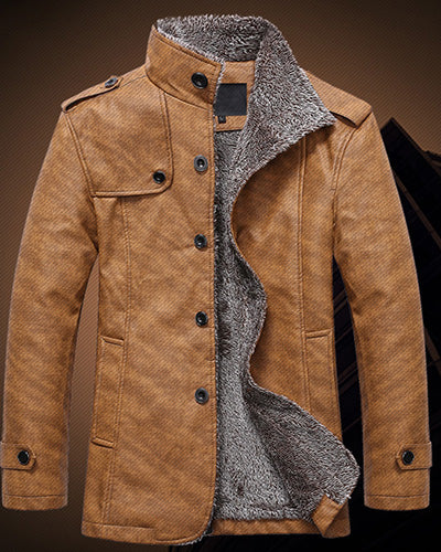 Men's Winter Jacket PU Leather - GaGodeal