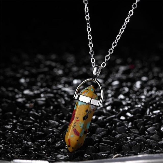 Hexagonal Column Natural Crystal Tiger Eye Amethyste Stone Pendant Necklace