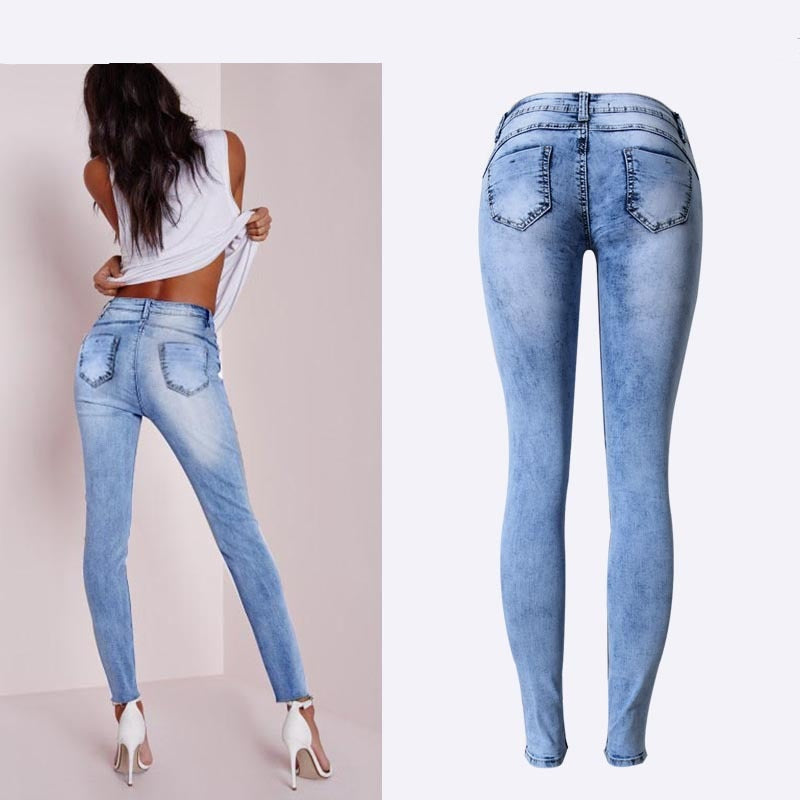 Summer Style Low Waist Sky Blue Patchwork Skinny Tights Women Pencil Jeans