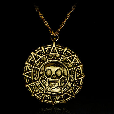 Pirates Of The Caribbean Necklace Aztec Skeleton Skull Heads