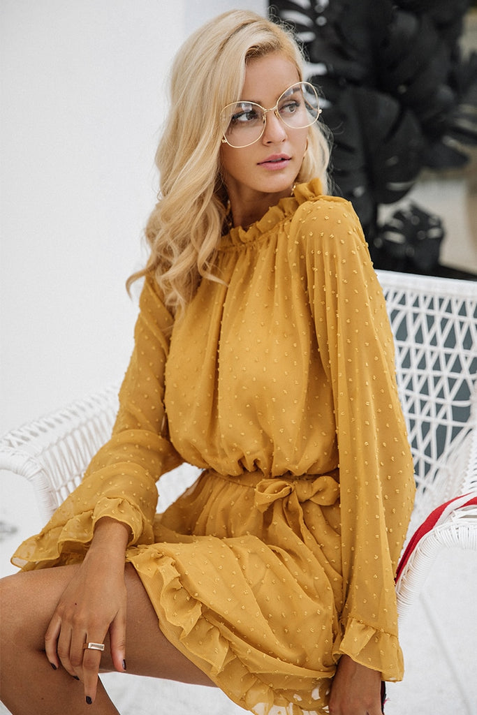 Simplee Lace up backless mesh women dress