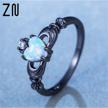 Elegant Heart Cut Rainbow Opal Ring