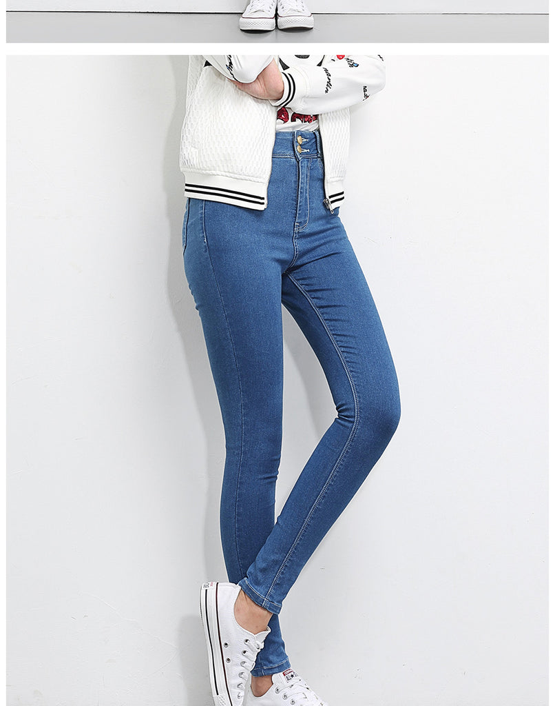 Well 3 Colors Plus Size High Waist Full Length For Four Seasons Women Skinny Pencil Jeans