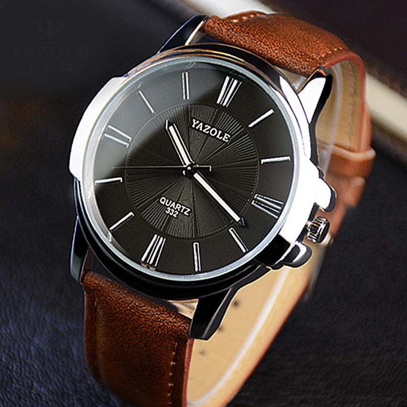 Men Waterproof  Watch Leather Roman - GaGodeal