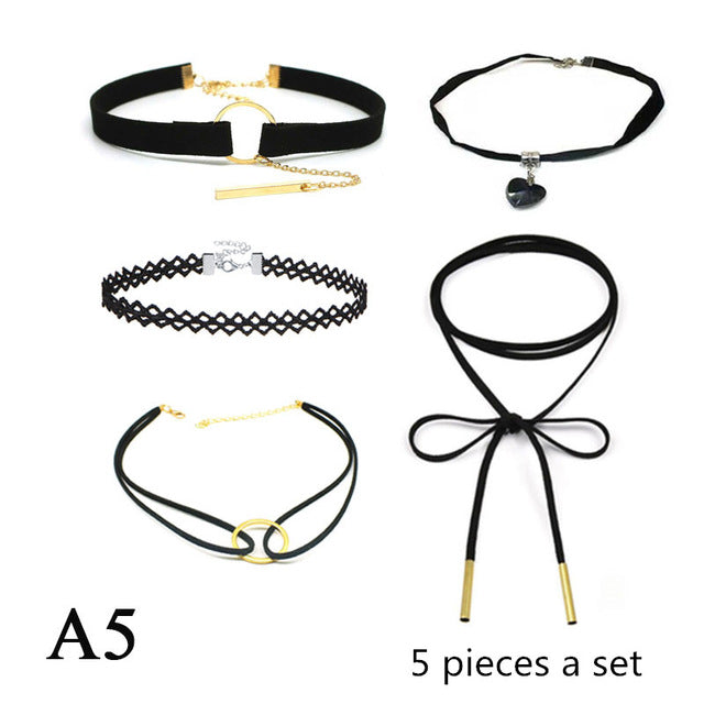 set Choker Necklace Black Lace Leather Velvet