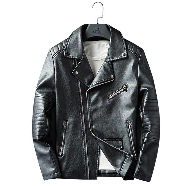 Casual Zipper PU Leather Jacket - GaGodeal