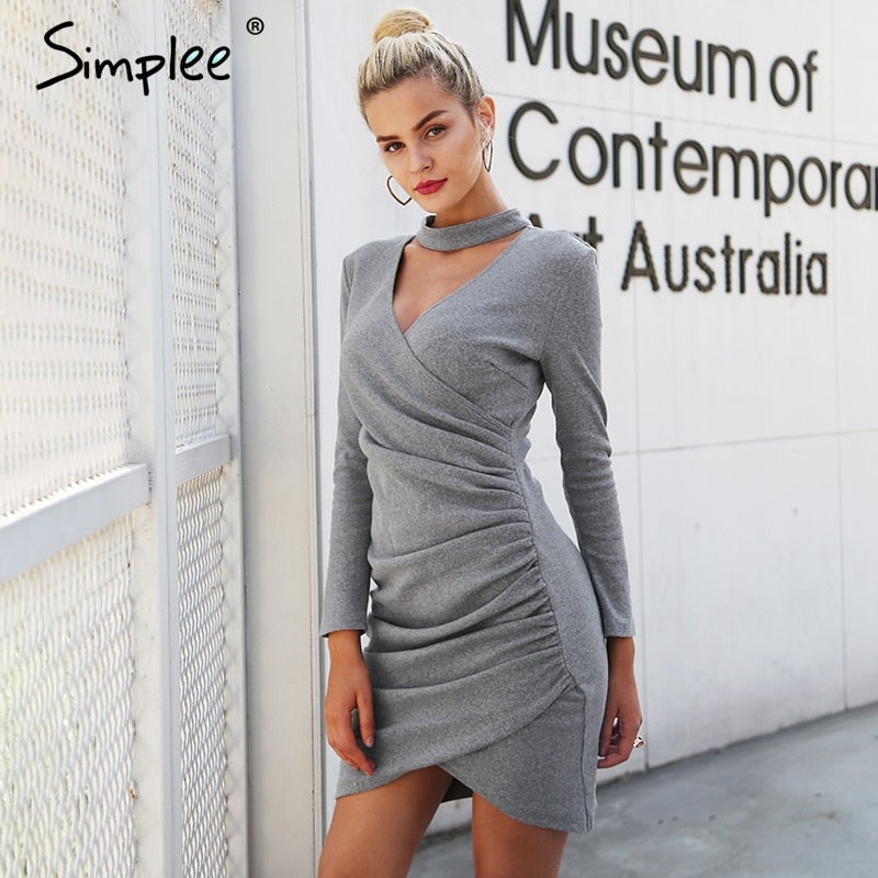 Sexy halter v neck long sleeve black bodycon dress