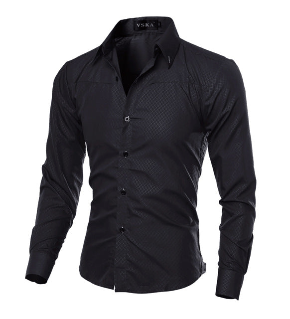 Hot Sale Long Sleeve Mens Shirts Casual Slim Fit