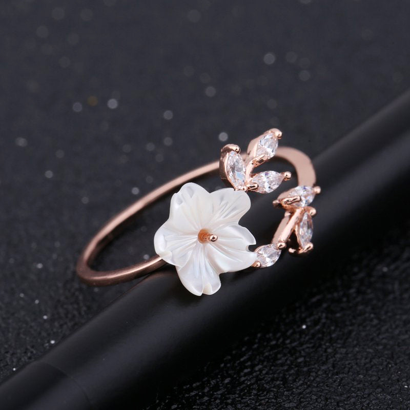 Zircon Crystal Leaf Shell Flower Ring - GaGodeal