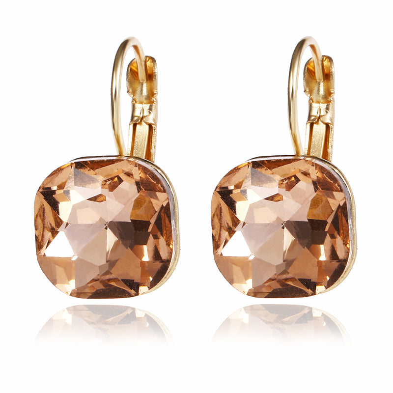 Gold Color Square Stud Earrings