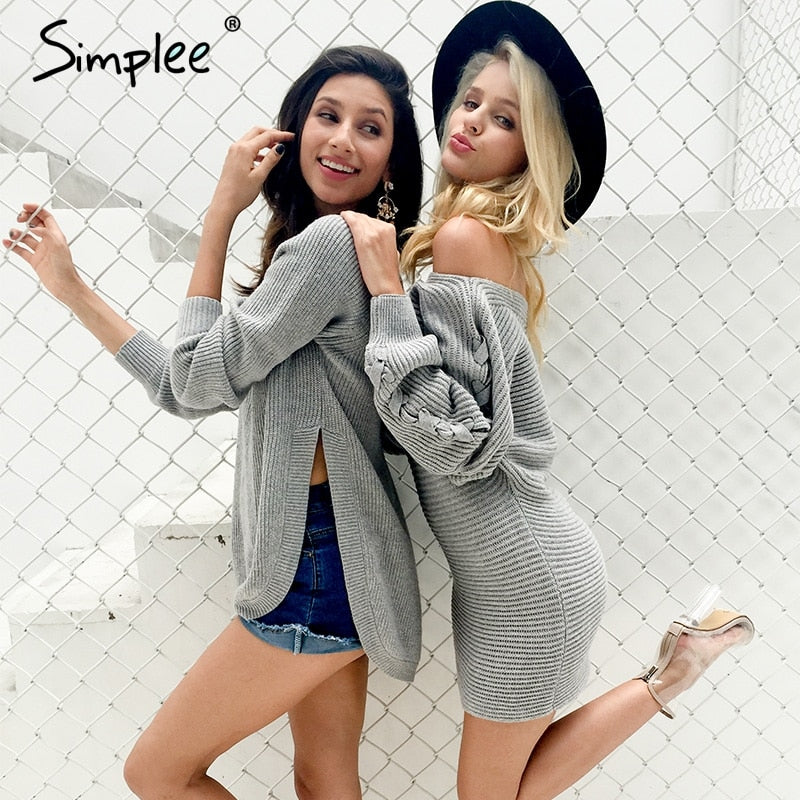 Simplee Sexy lace up sweater dress women