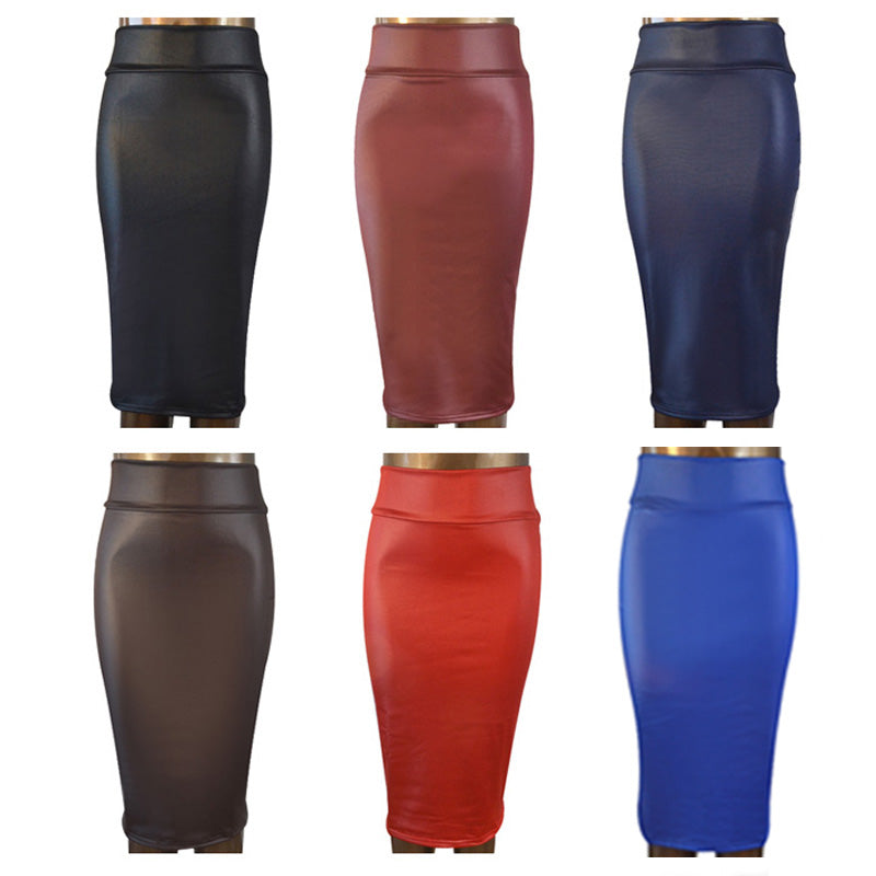Office skirt high-waist faux