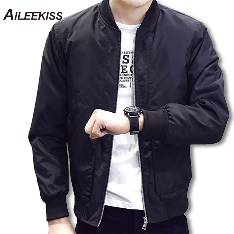 2018 Casual Solid Fashion Slim Bomber Jacket