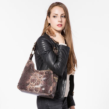 Genuine leather totes classic serpentine prints shoulder crossbody bags