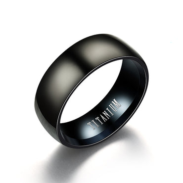 Fashion Black Titanium Ring Men