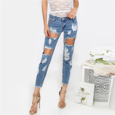 Destroyed Cropped Denim