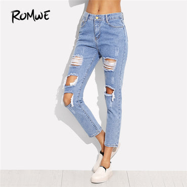 ROMWE Distressed Ankle Jeans