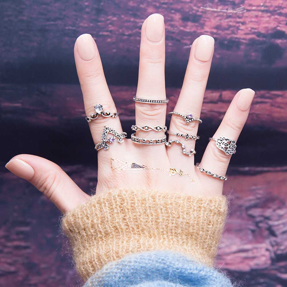 10Pcs/Set Bohemian Hollow Ring - GaGodeal