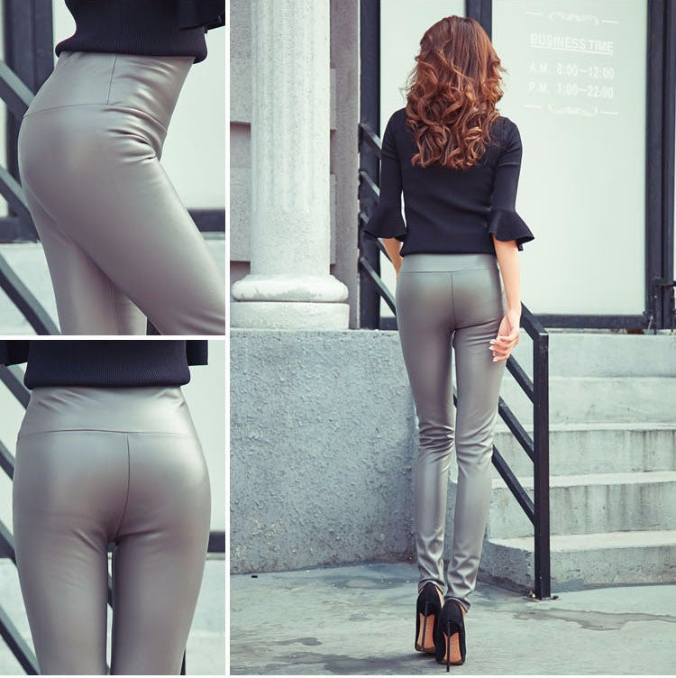 Leather women pants high waist - GaGodeal