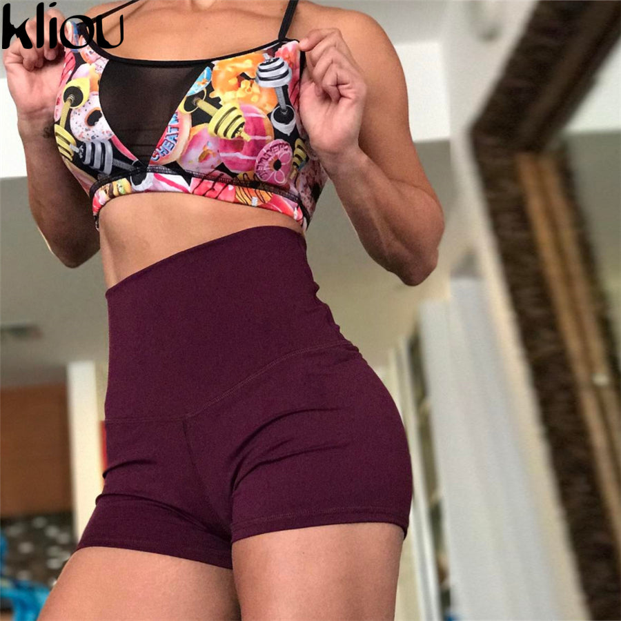Kliou 2018 Women Shorts Fitness Solid 4 colors wprkout Elastic Waist Spring Sexy Autumn Summer Clothing sporting Shorts