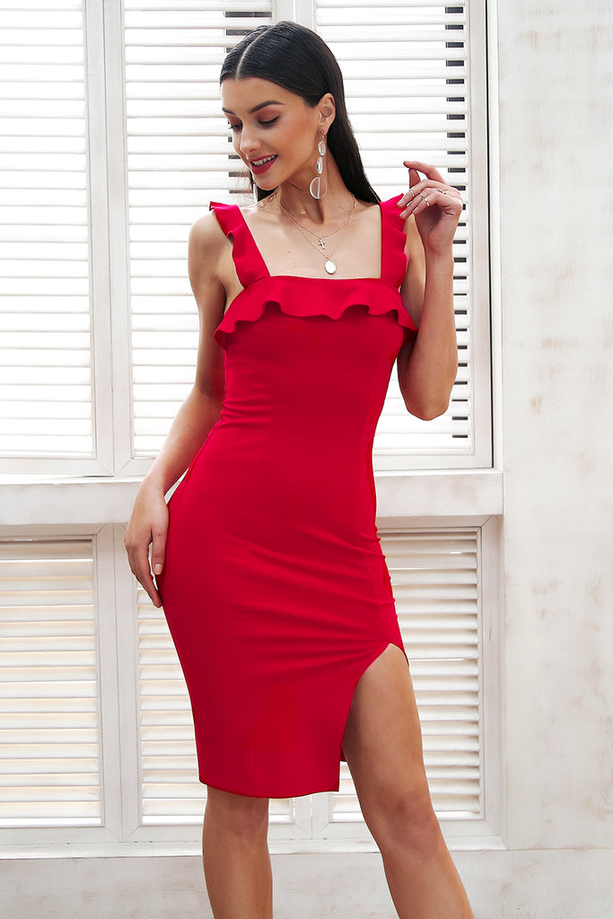 Strap ruffle sexy bodycon dress