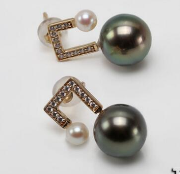 Gorgeous pair of 5-10mm Tahitian round black green pearl earring 14