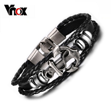 Vintage Anchor Bracelet Black Genuine Braided Leather