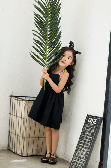 New Arrival Rainbow Strap Simply Black Cotton Girl Dress