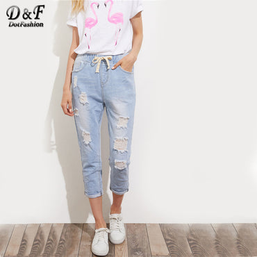 Wash Crop Distressed Jeans