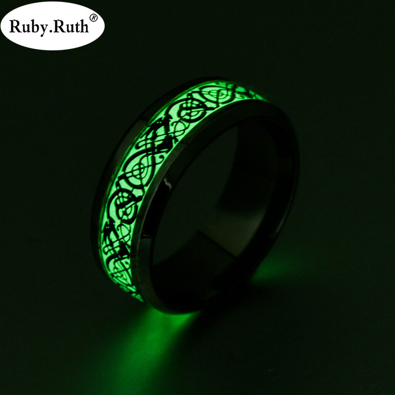 Luminous Plated Silver Ring Dark Golden Dragon - GaGodeal