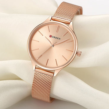 Luxury Milanese Steel Rose Gold Women Quartz Watch