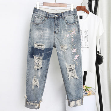 Women Loose Slim Fitted Vintage Embroidered Jeans