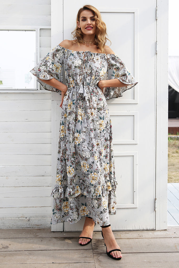 Print off shoulder summer long dress