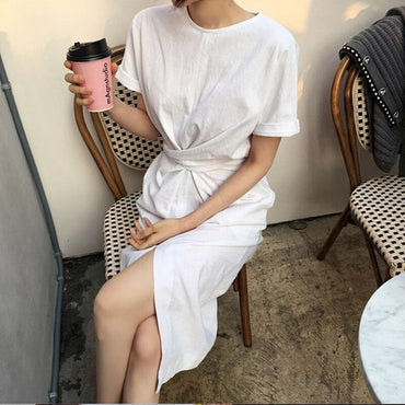 women's summer white cotton short sleeve bandage bodycon sexy dress