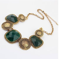 Vintage Luxury Palace Statement Necklaces Retro Rhinestone Geometric