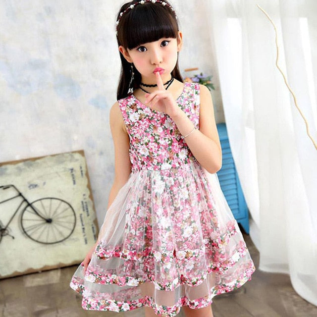 Elegant Girls Bohemian Style Sleeveless Floral Dress