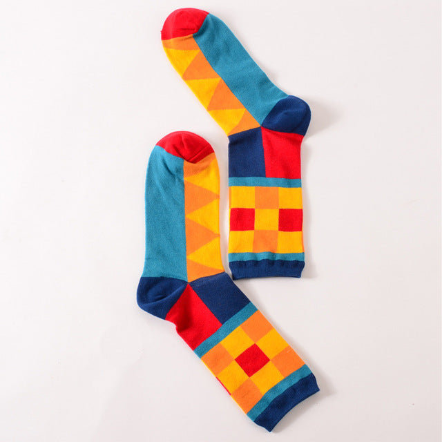 Colour crew cotton happy socks - GaGodeal