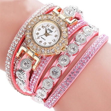 Women Quartz  PU Leather  Rhinestone