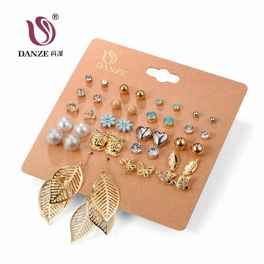 20 Pairs Pack Set Brincos Mixed Stud Earrings