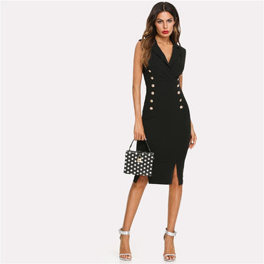 Black Elegant Notched V Neck Double Button Sleeveless Pencil Dress