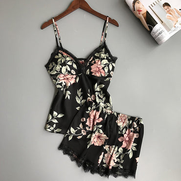 Women Sexy Silk Satin Sleepwear Sleeveless V-neck Floral Pajama Set
